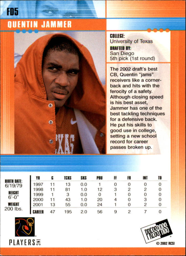 2002 Press Pass JE First Down #FD5 Quentin Jammer back image
