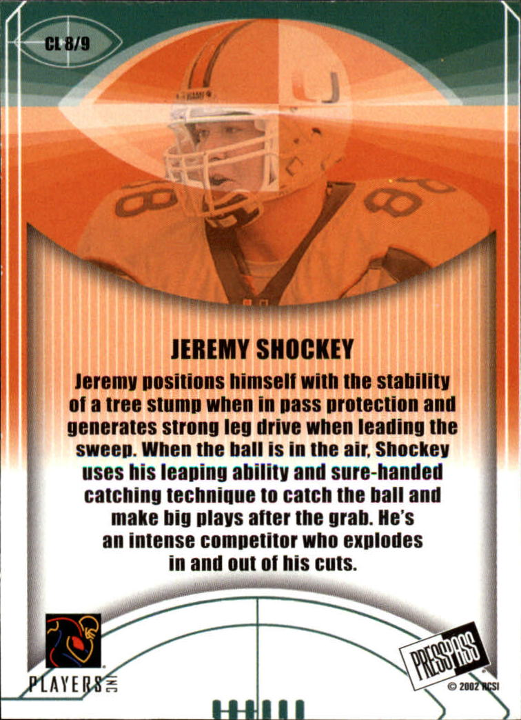 2002 Press Pass JE Class of 2002 #CL8 Jeremy Shockey back image