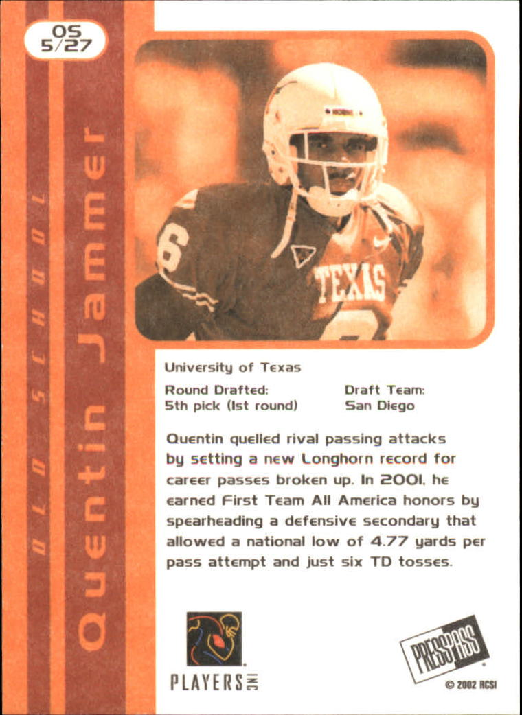 2002 Press Pass JE Old School #OS5 Quentin Jammer back image