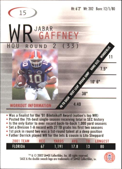 2002 SAGE #15 Jabar Gaffney back image