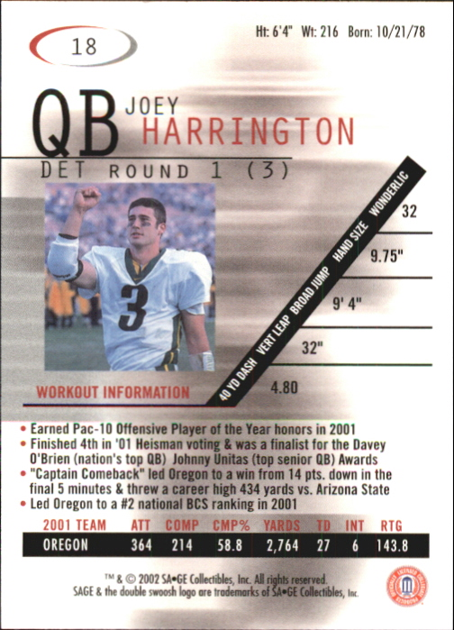 2002 SAGE #18 Joey Harrington back image