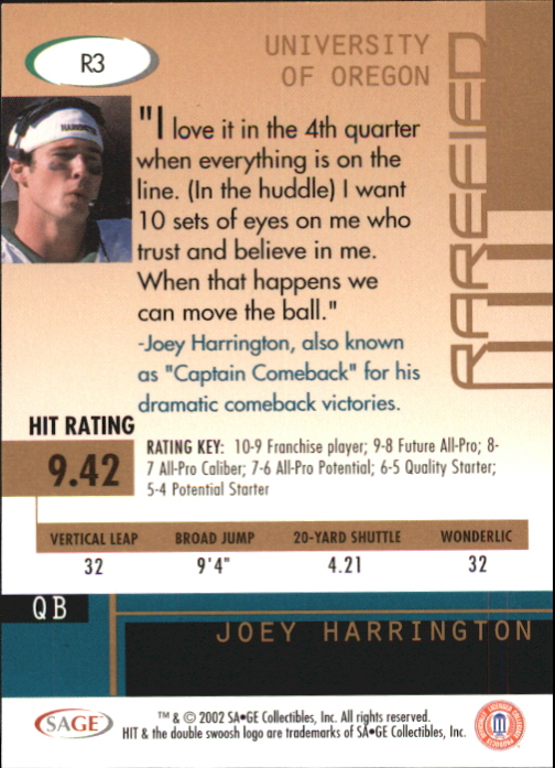 2002 SAGE HIT Rarefied Emerald #R3 Joey Harrington back image