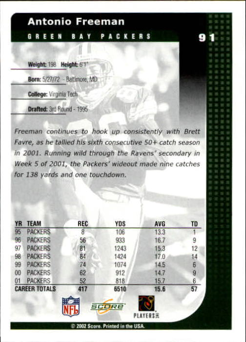 2002 Score #91 Antonio Freeman back image