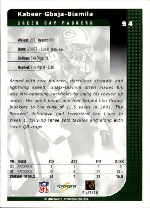 2002 Score #94 Kabeer Gbaja-Biamila back image