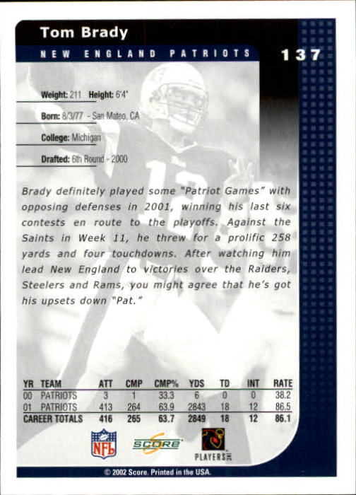 2002 Score #137 Tom Brady back image