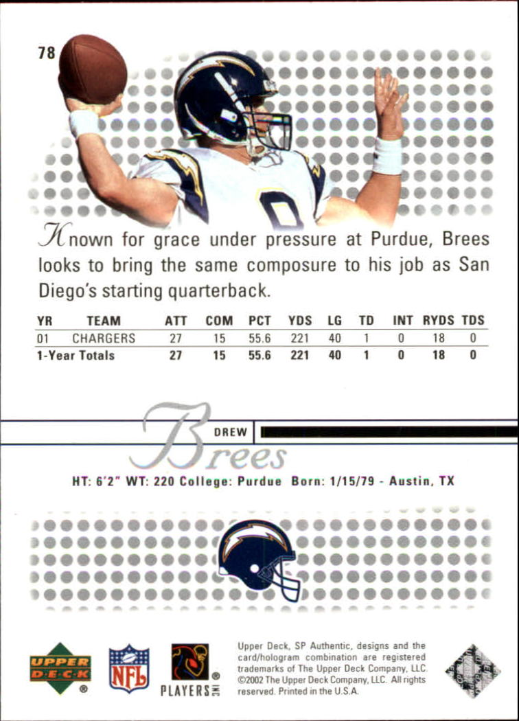 2002 SP Authentic #78 Drew Brees back image