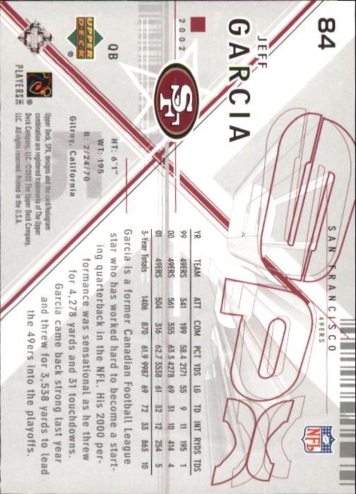 2002 SPx #84 Jeff Garcia back image