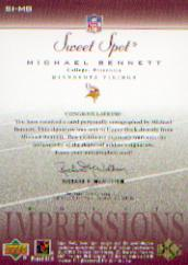 2002 Sweet Spot Sweet Impressions Autographs #SIMB Michael Bennett/450 back image