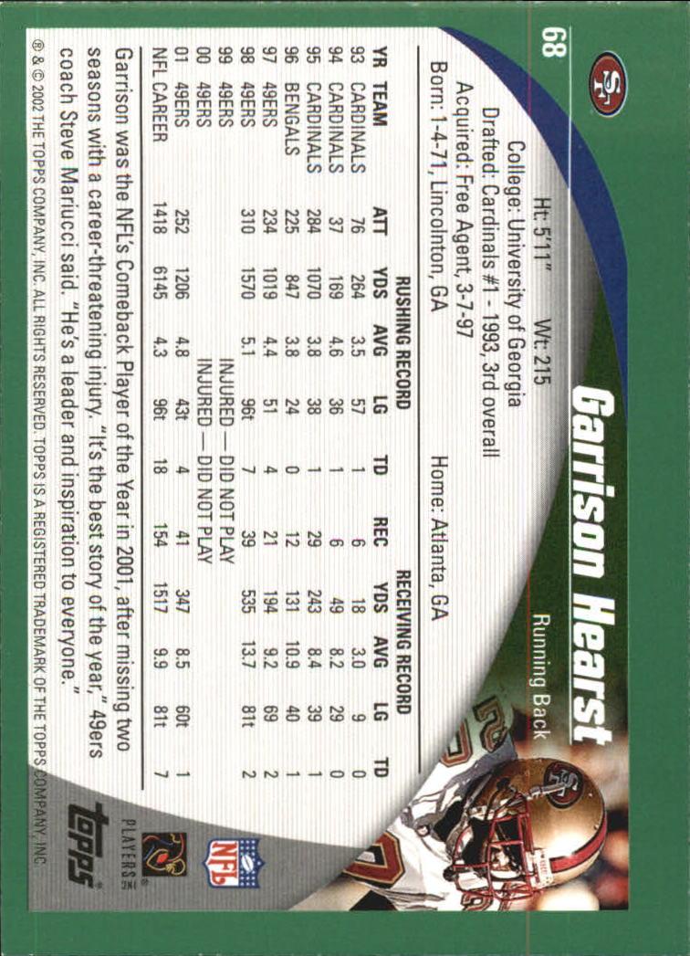 2002 Topps #68 Garrison Hearst back image