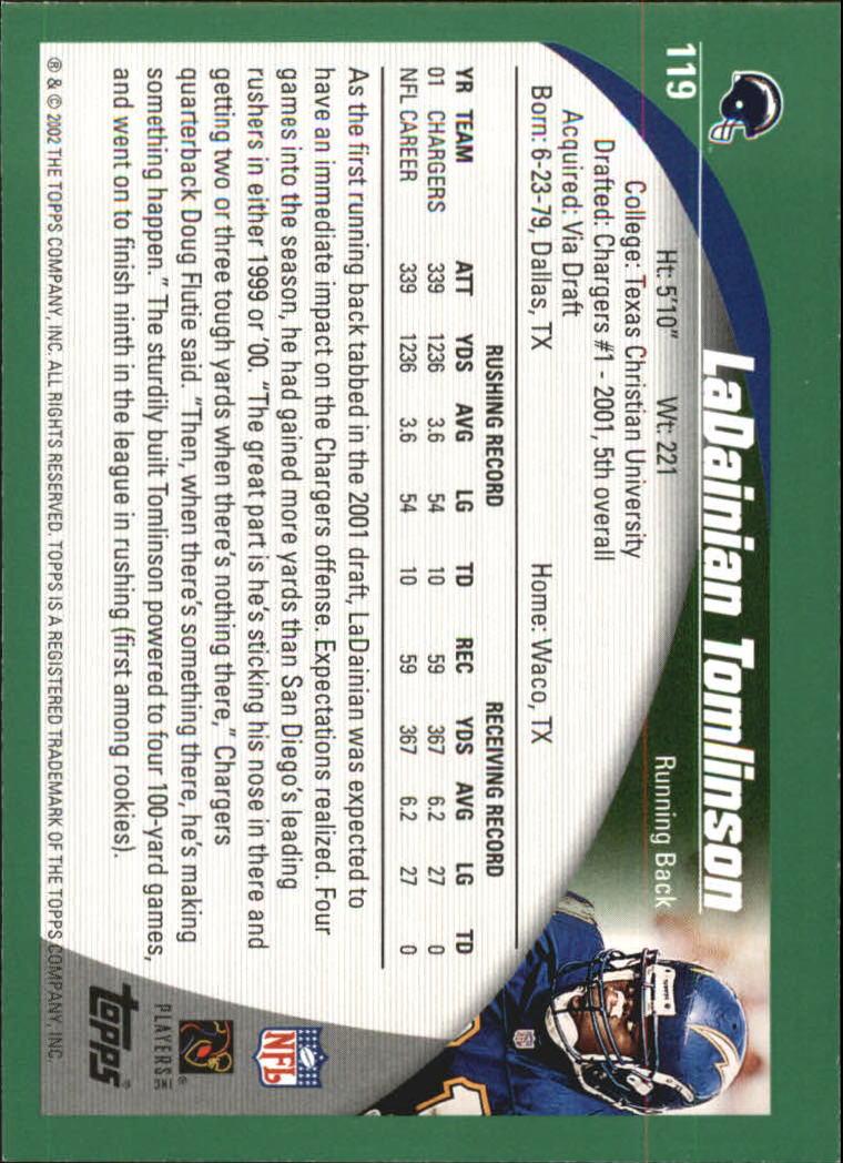 2002 Topps #119 LaDainian Tomlinson back image