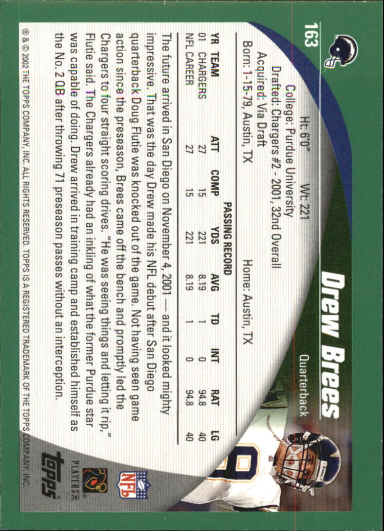 2002 Topps #163 Drew Brees back image