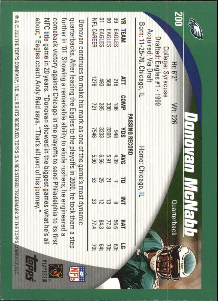 2002 Topps #200 Donovan McNabb back image