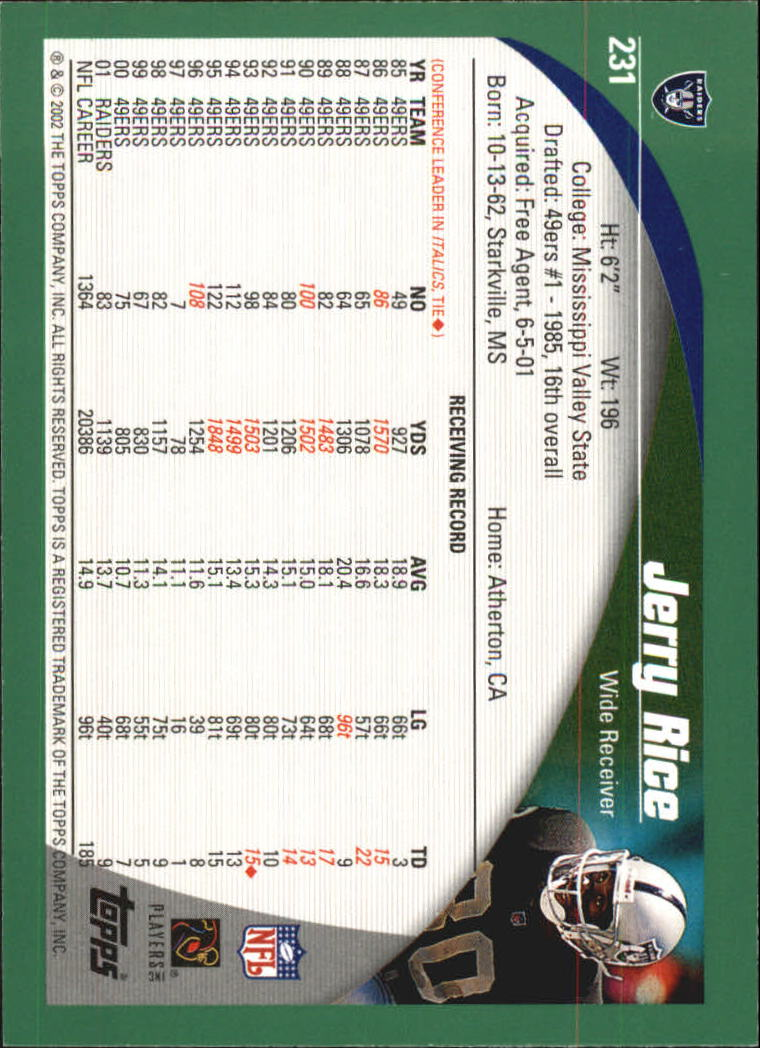 2002 Topps #231 Jerry Rice back image