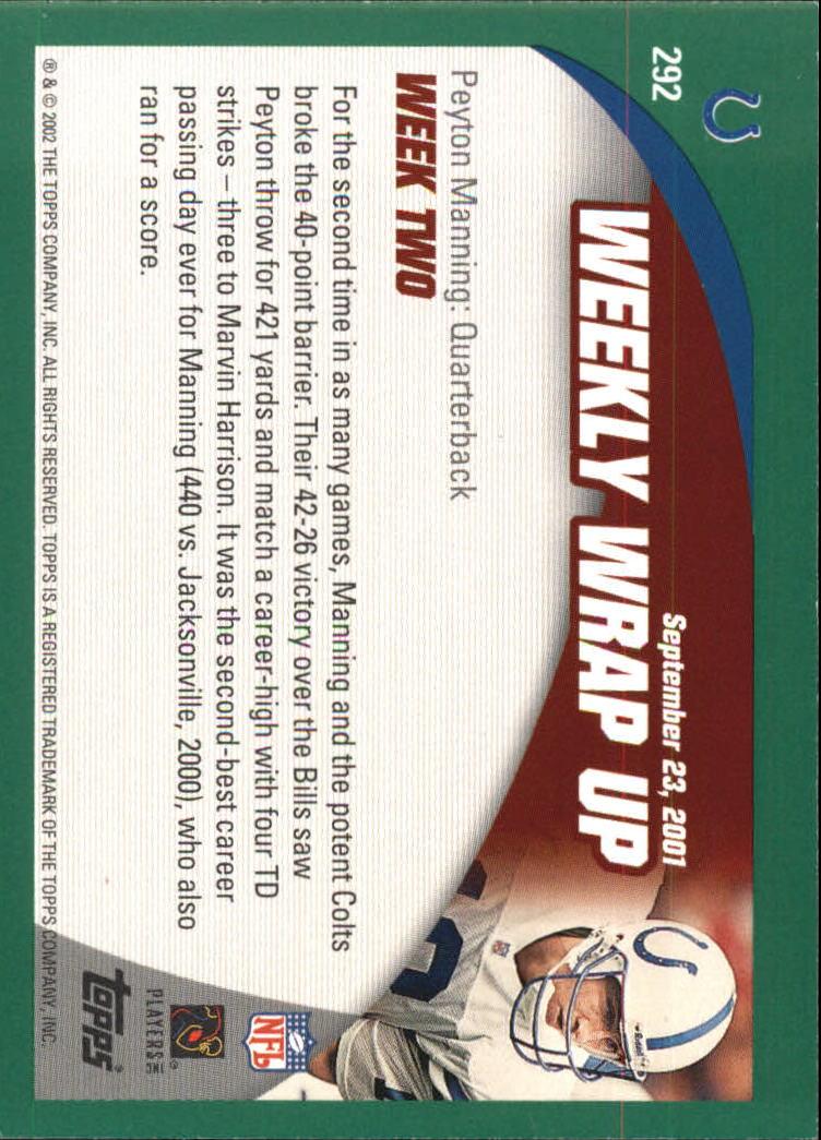 2002 Topps #292 Peyton Manning WW back image