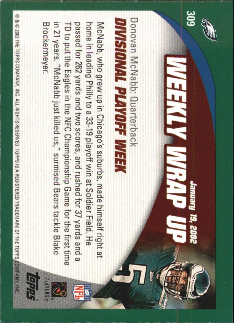 2002 Topps #309 Donovan McNabb WW back image