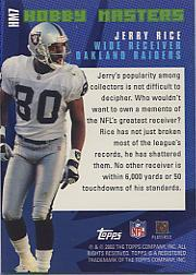 2002 Topps Hobby Masters #HM7 Jerry Rice back image