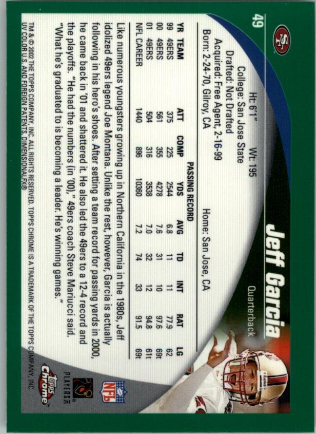 2002 Topps Chrome #49 Jeff Garcia back image