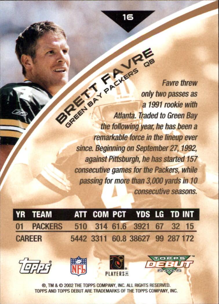 2002 Topps Debut #16 Brett Favre back image