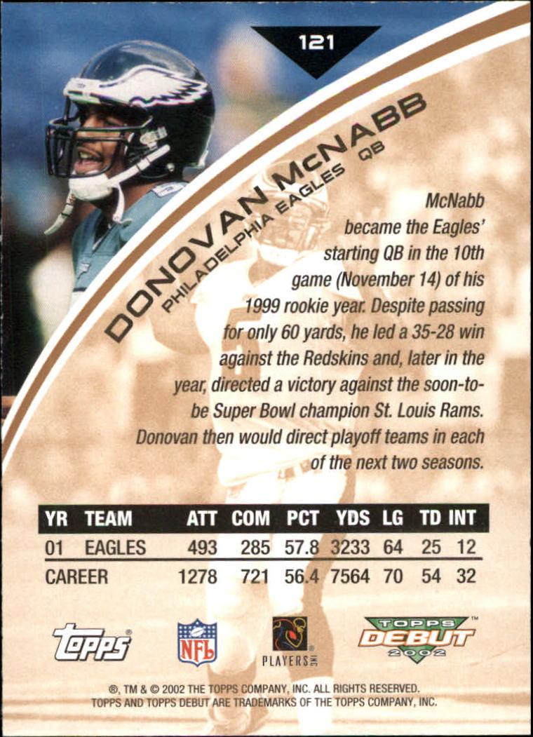 2002 Topps Debut #121 Donovan McNabb back image