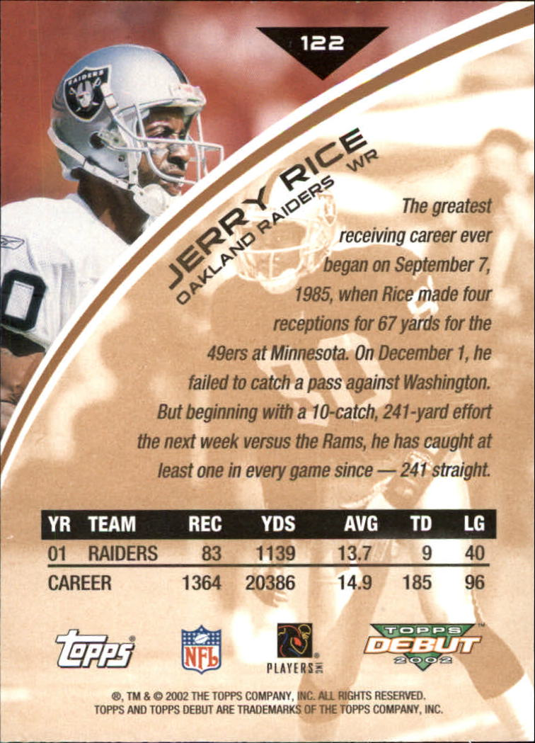 2002 Topps Debut #122 Jerry Rice back image