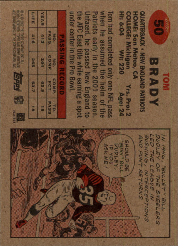 2002 Topps Heritage #50 Tom Brady back image
