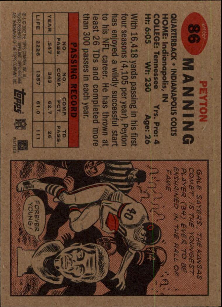 2002 Topps Heritage #86 Peyton Manning back image