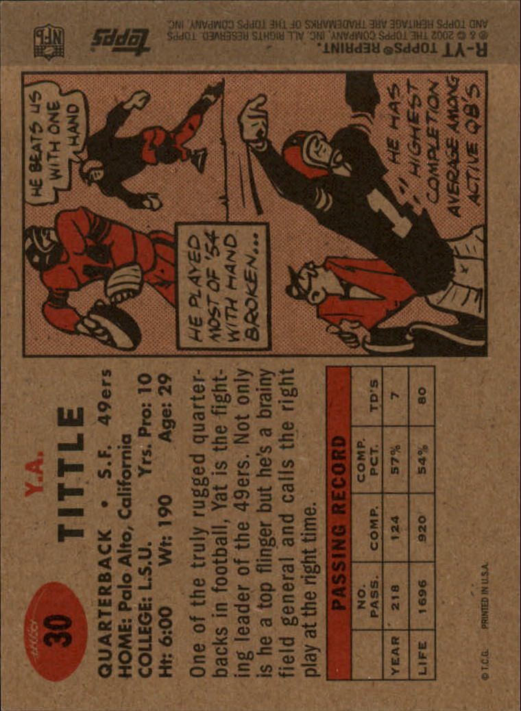 2002 Topps Heritage 1957 Reprints #RYT Y.A. Tittle back image
