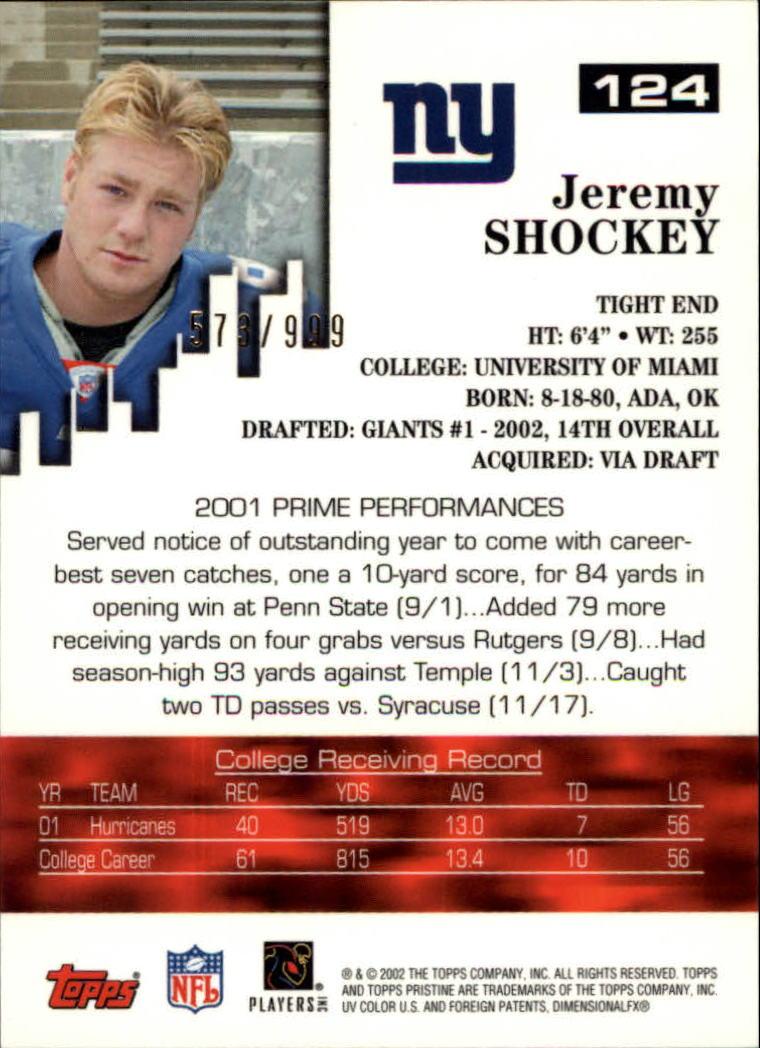 2002 Topps Pristine #124 Jeremy Shockey U back image