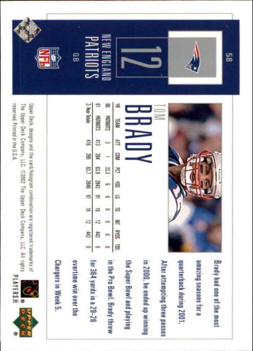 2002 UD Piece of History #58 Tom Brady back image