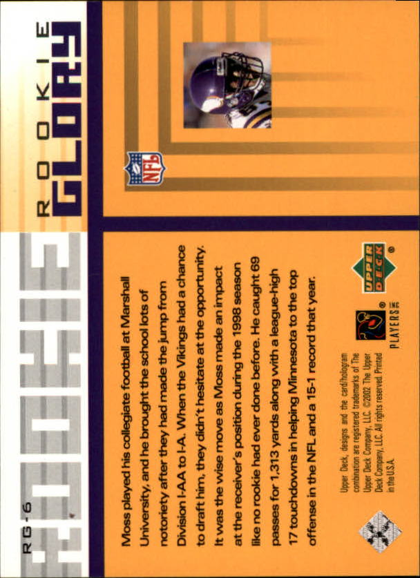 2002 UD Piece of History Rookie Glory #RG6 Randy Moss back image