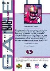 2002 UD Piece of History The Big Game #BG23 Jerry Rice back image