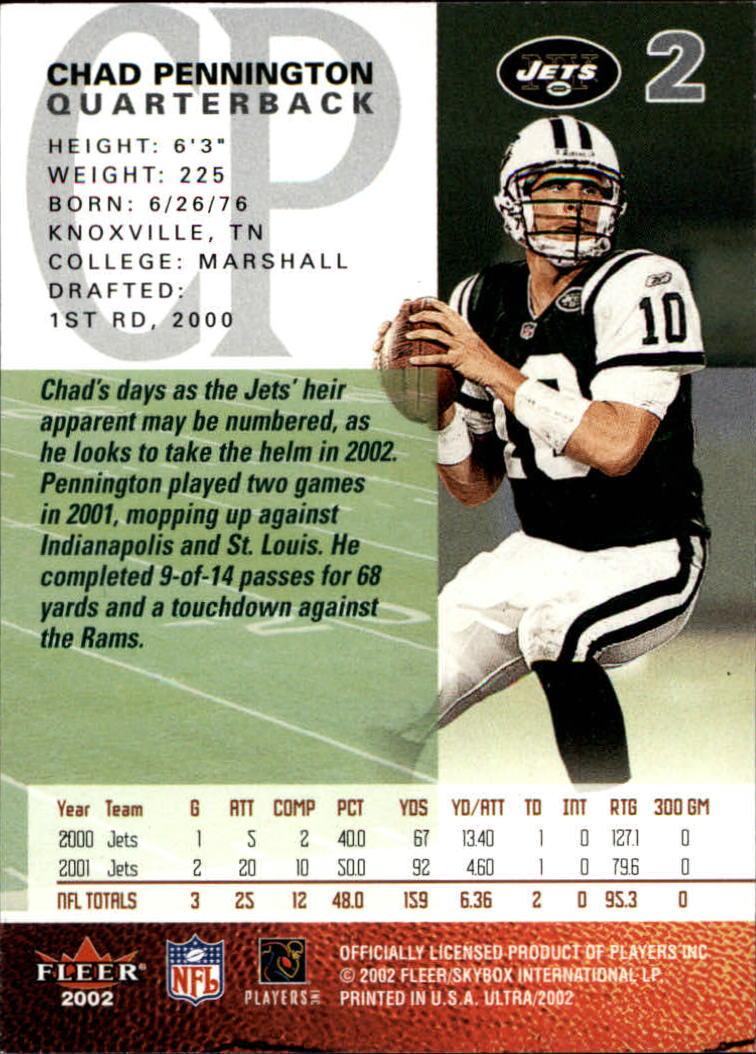 2002 Ultra #2 Chad Pennington back image