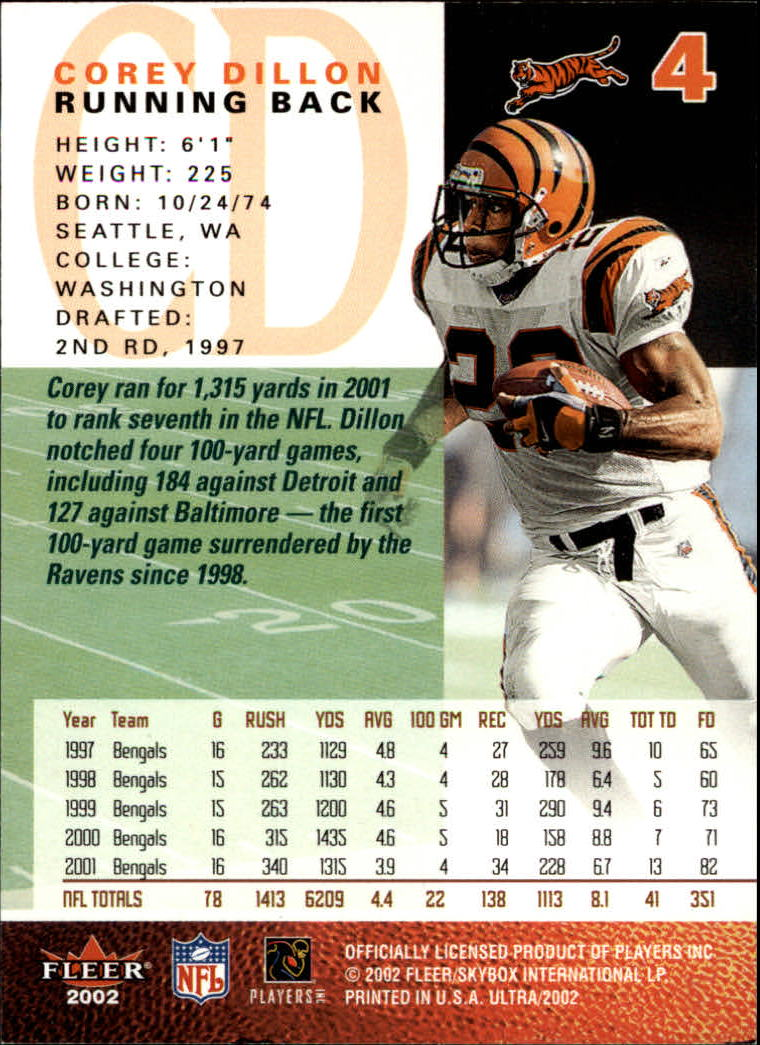 2002 Ultra #4 Corey Dillon back image