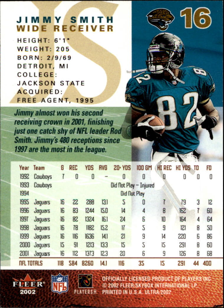 2002 Ultra #16 Jimmy Smith back image