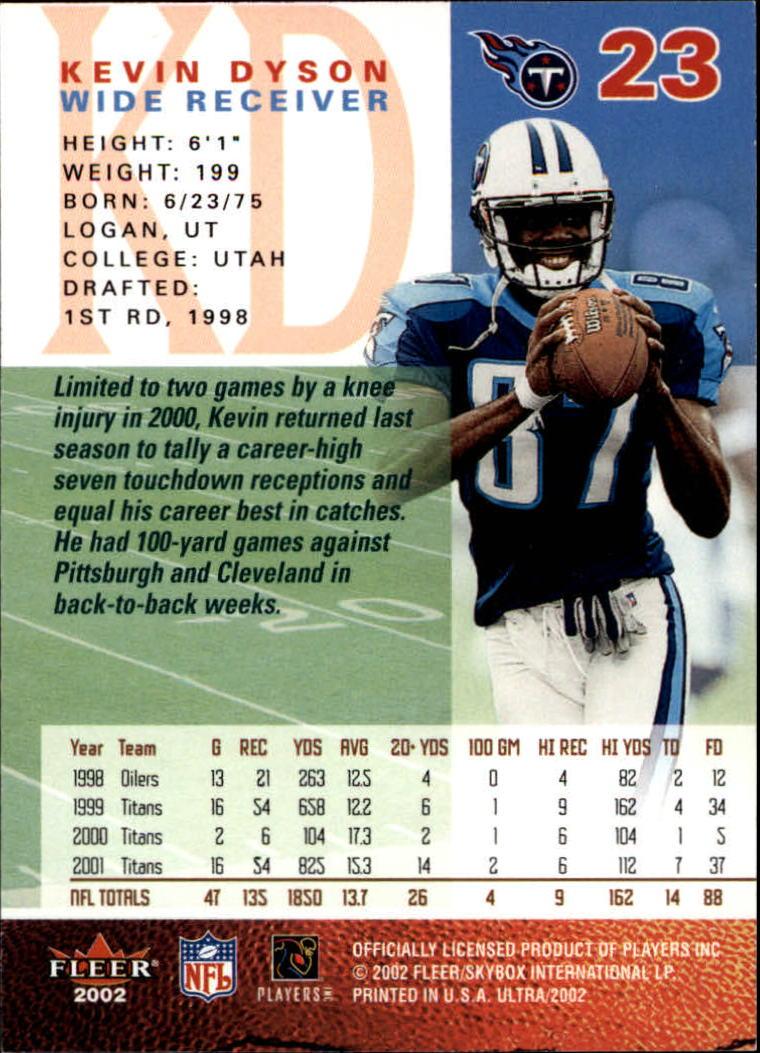 2002 Ultra #23 Kevin Dyson back image