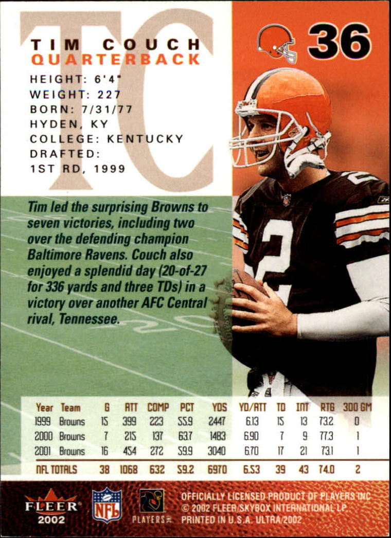 2002 Ultra #36 Tim Couch back image