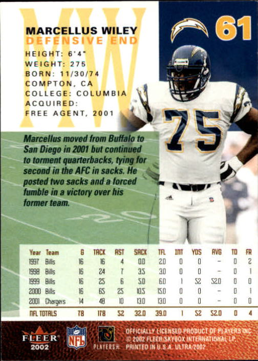2002 Ultra #61 Marcellus Wiley back image