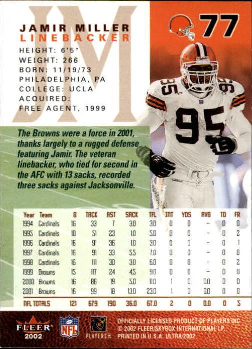 2002 Ultra #77 Jamir Miller back image