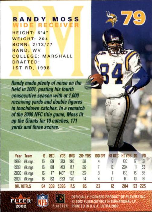 2002 Ultra #79 Randy Moss back image