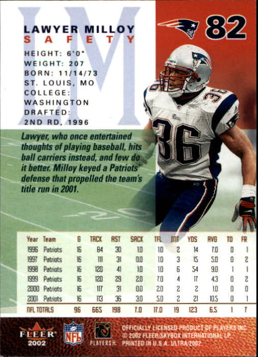 2002 Ultra #82 Lawyer Milloy back image