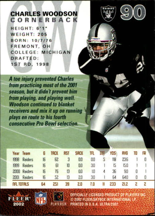2002 Ultra #90 Charles Woodson back image