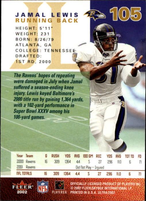 2002 Ultra #105 Jamal Lewis back image