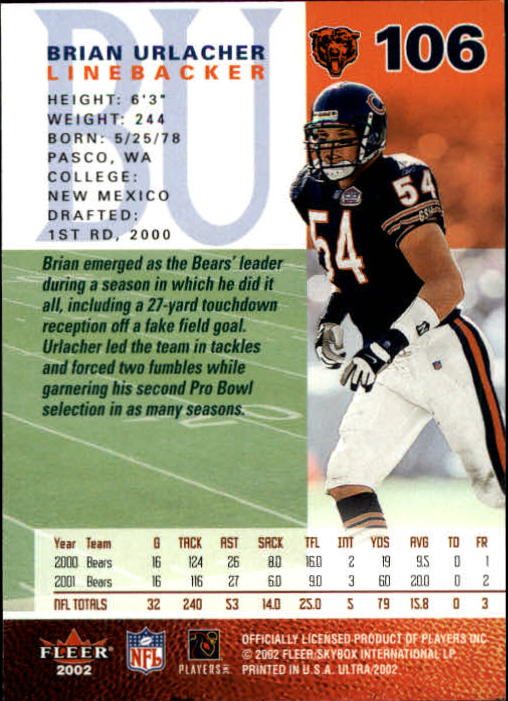 2002 Ultra #106 Brian Urlacher back image
