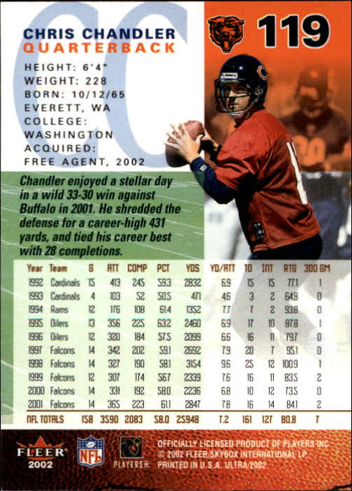 2002 Ultra #119 Chris Chandler back image