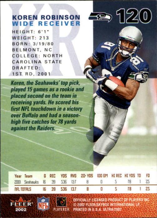 2002 Ultra #120 Koren Robinson back image