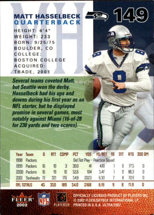 2002 Ultra #149 Matt Hasselbeck back image