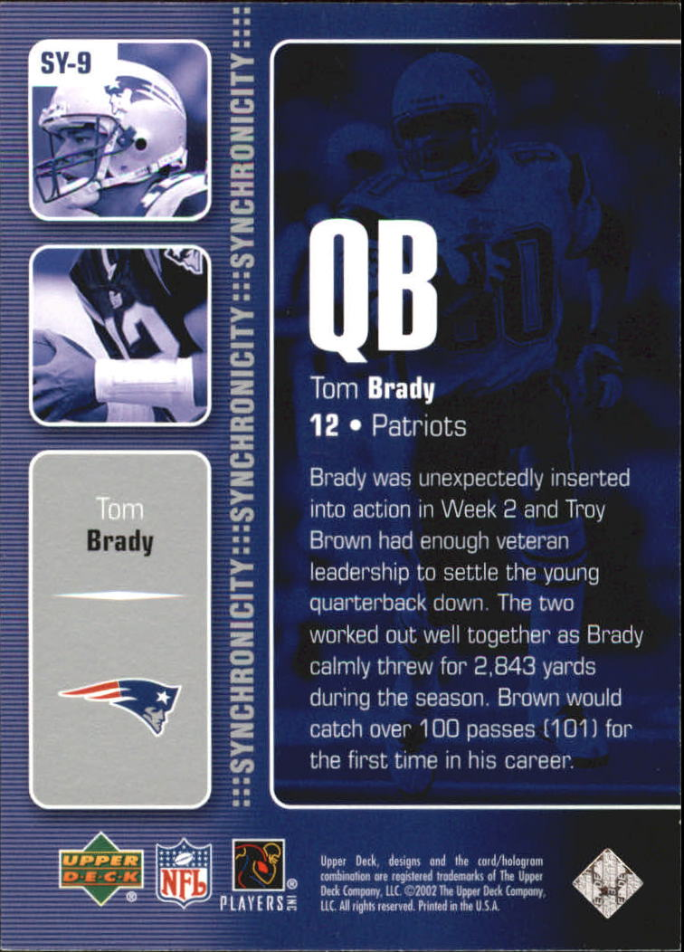 2002 Upper Deck Synchronicity #SY9 Tom Brady/Troy Brown back image