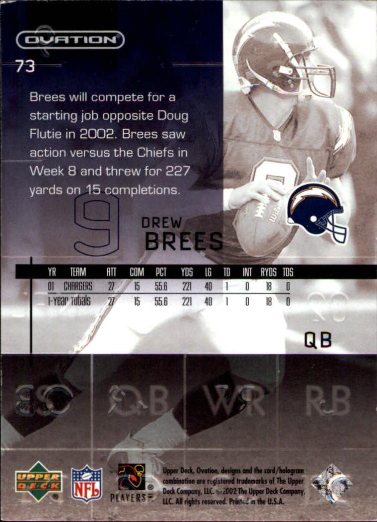 2002 Upper Deck Ovation #73 Drew Brees back image
