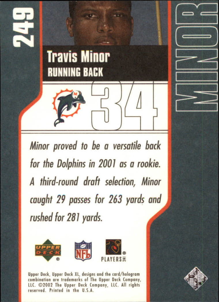 2002 Upper Deck XL #249 Travis Minor back image