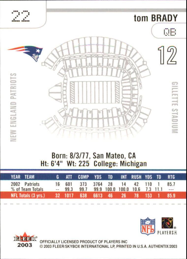 2003 Fleer Authentix #22 Tom Brady back image